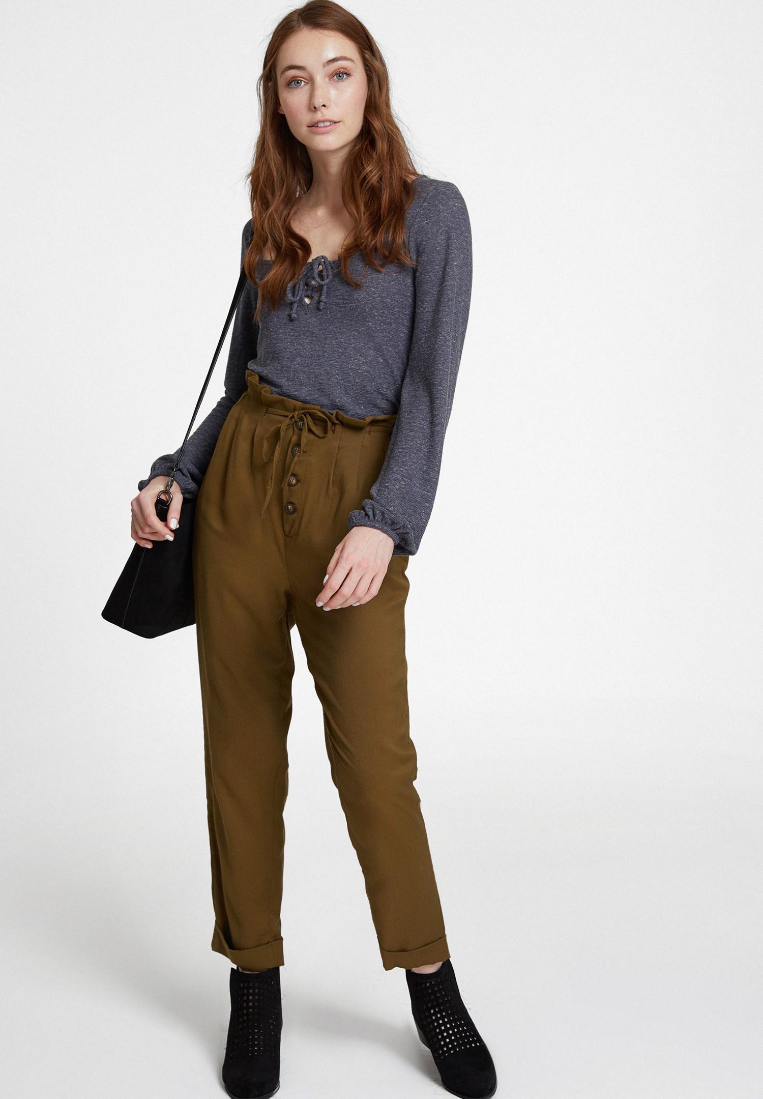 Bayan Yeşil Beli Bağlamalı Düğme Detaylı Pantolon