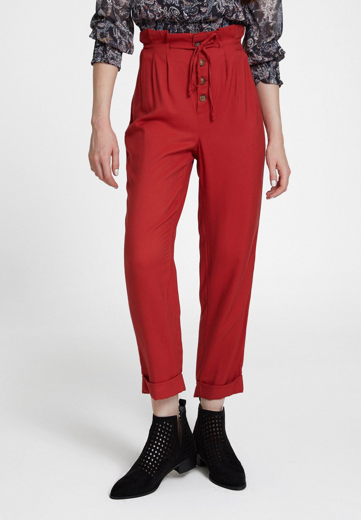 Bayan Kırmızı Beli Bağlamalı Düğme Detaylı Pantolon