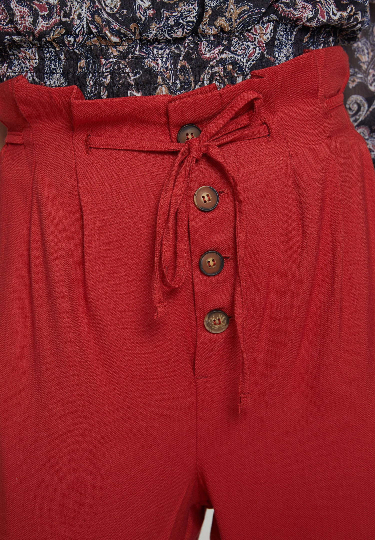 Women Red Trousers with Buttons