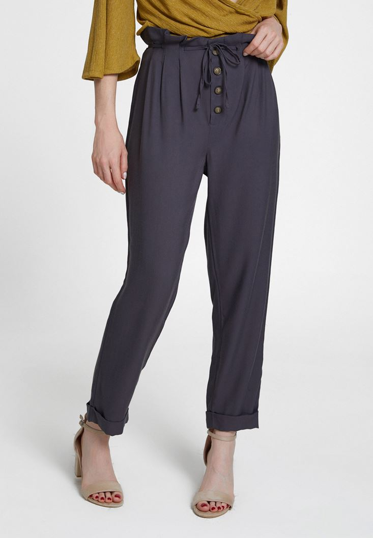 Grey Trousers with Buttons
