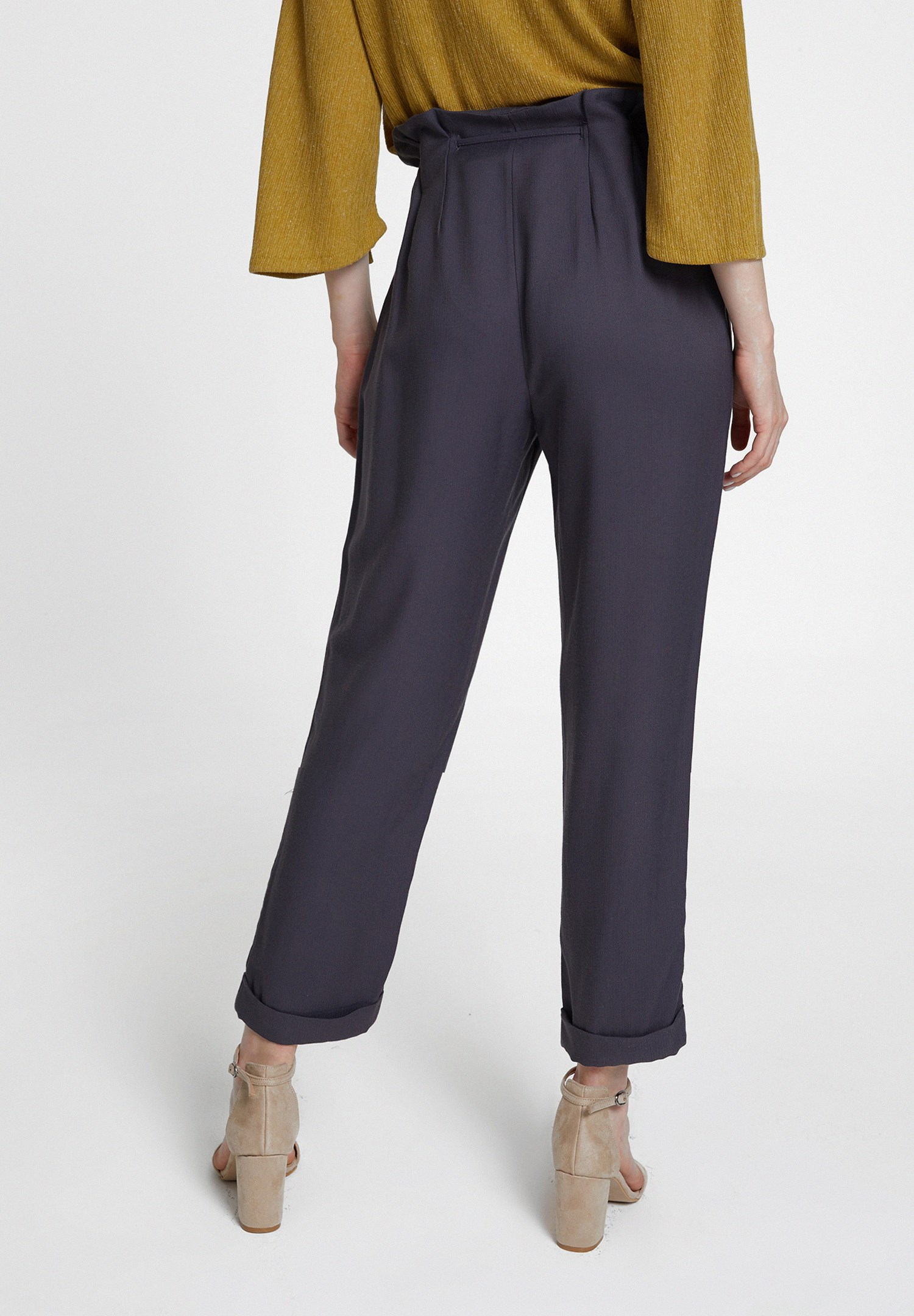 Women Grey Trousers with Buttons