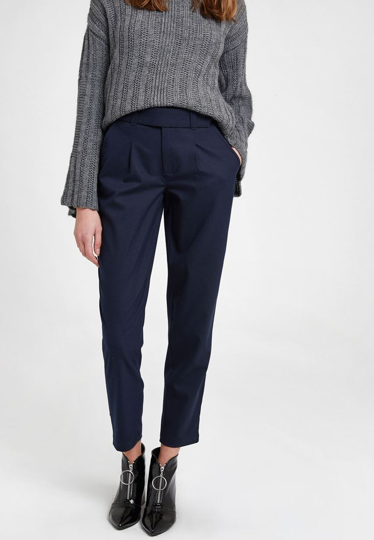 Navy Trousers with Pockets and Belt Detail