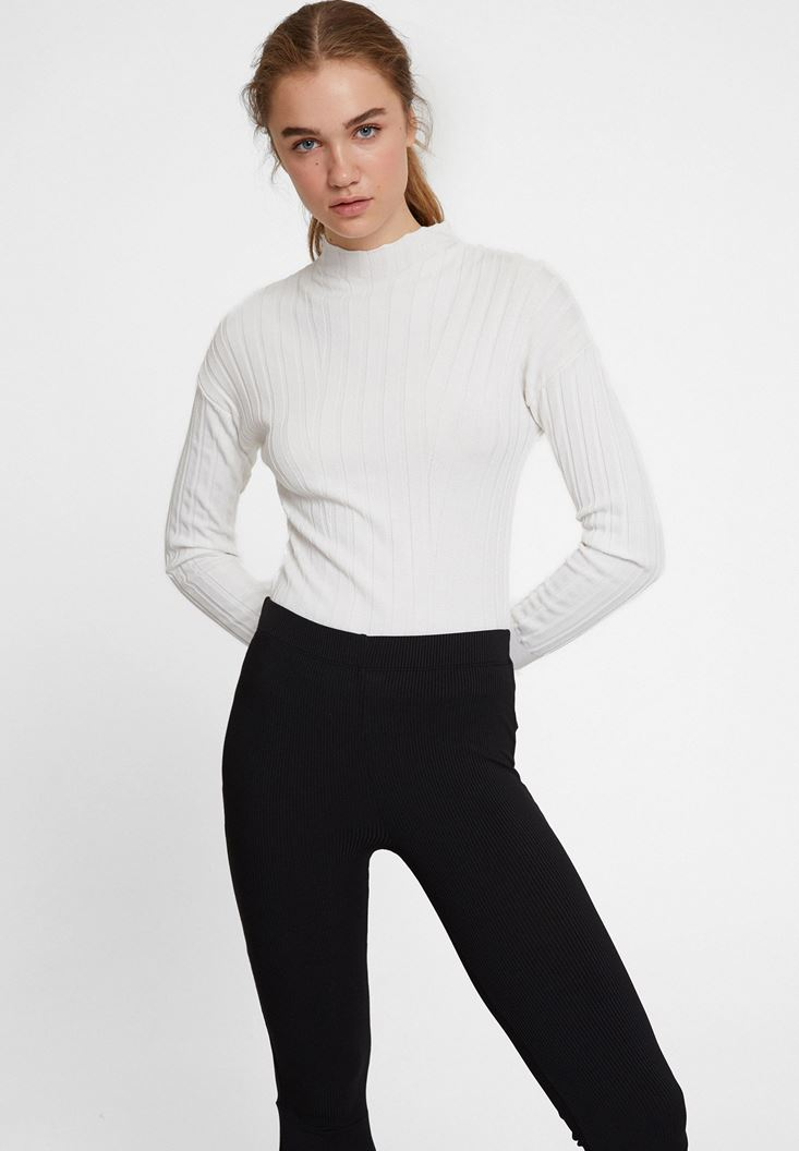Cream Long Sleeve Knitwear with Neck