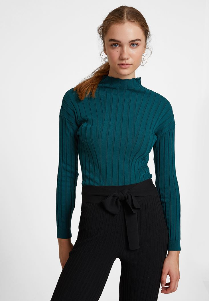 Green Long Sleeve Knitwear with Neck