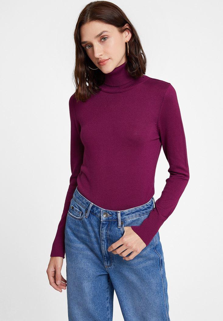 Purple Elastic Waist Knitwear
