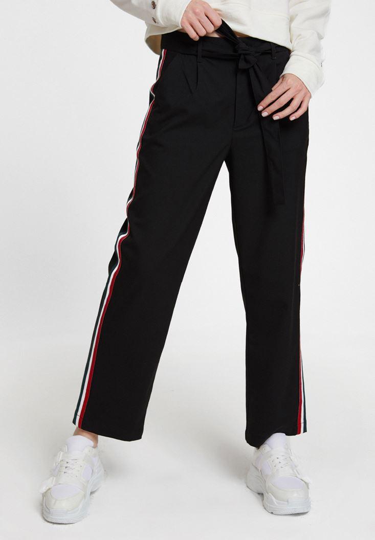 Siyah Beli Bağlamalı Cep Detaylı Bol Pantolon