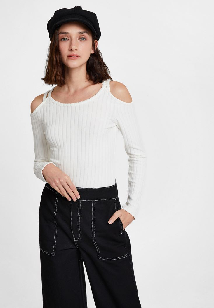 Cream Pullover with Shoulder Details