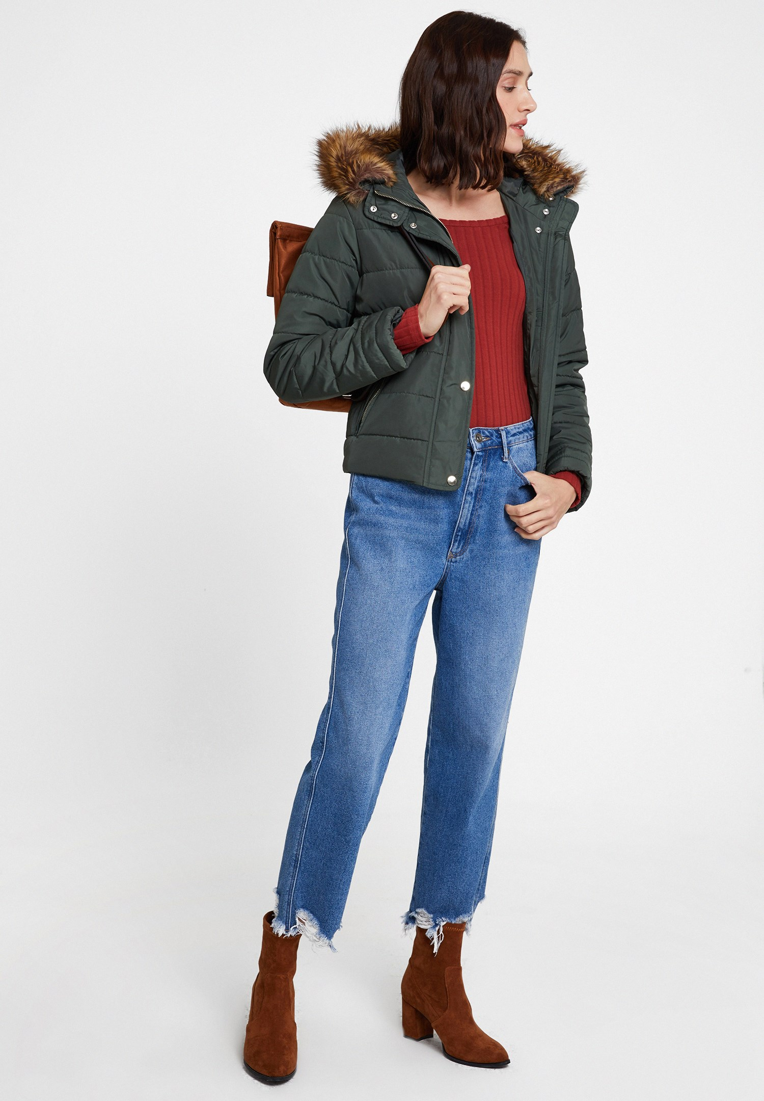 Women Red Pullover with Shoulder Details