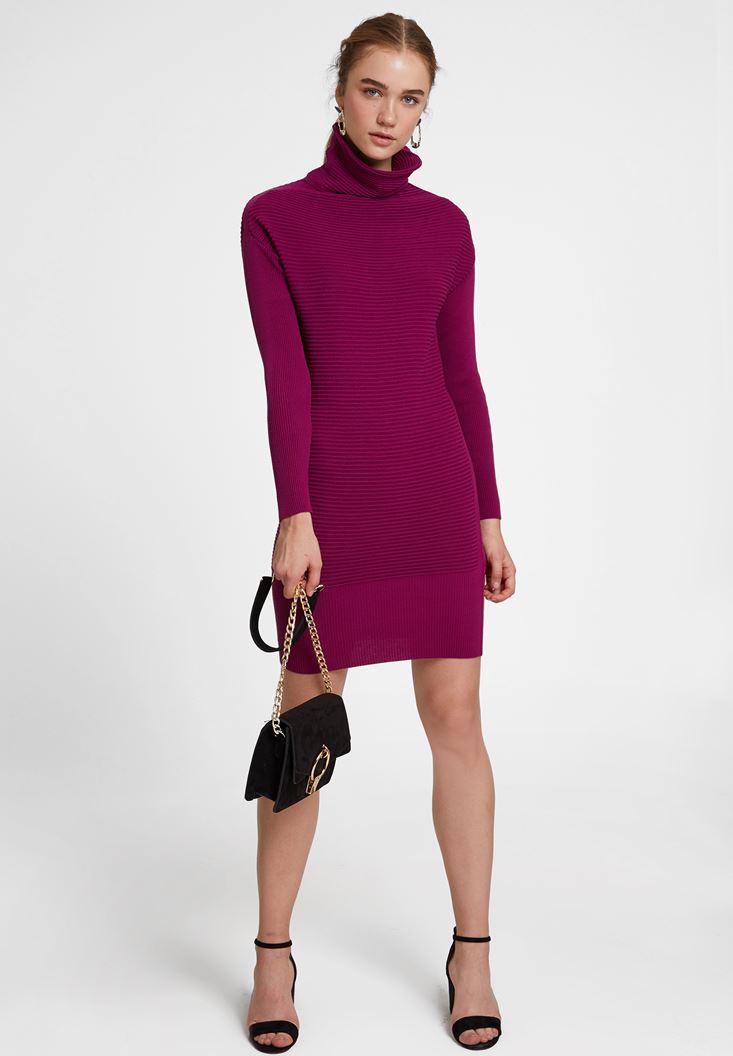 Bordo Yaka Detaylı Triko Elbise