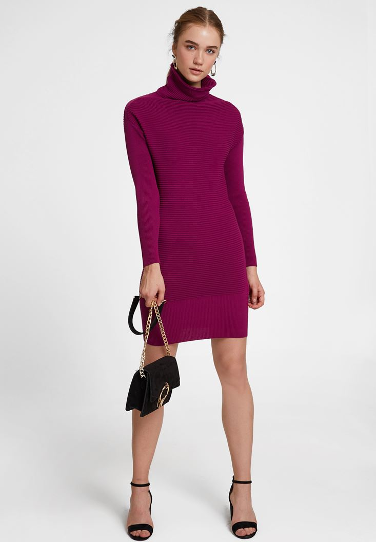 Purple Knitted Dress with Neck