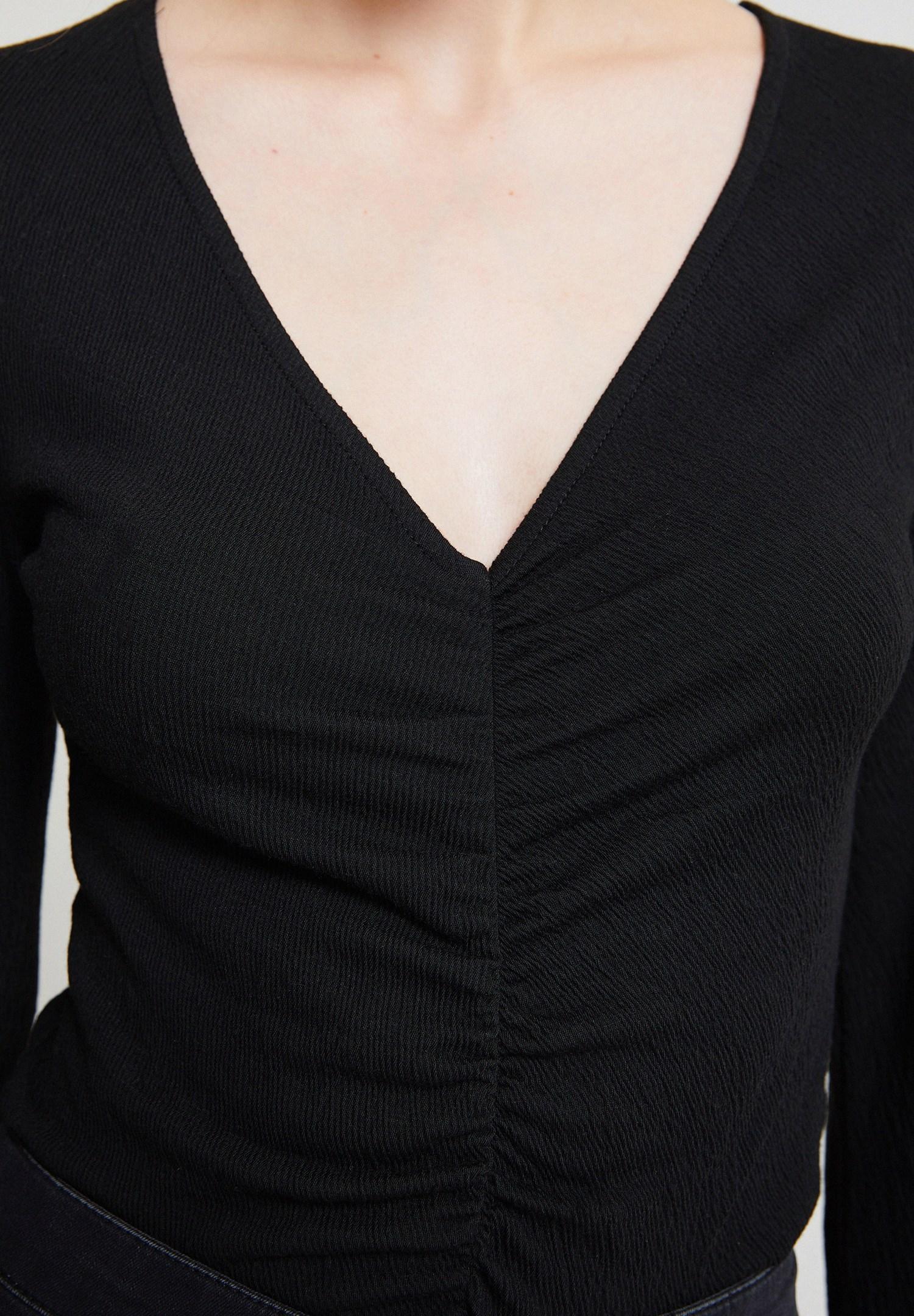 Women Black Smocked Blouse with Flared Sleeve