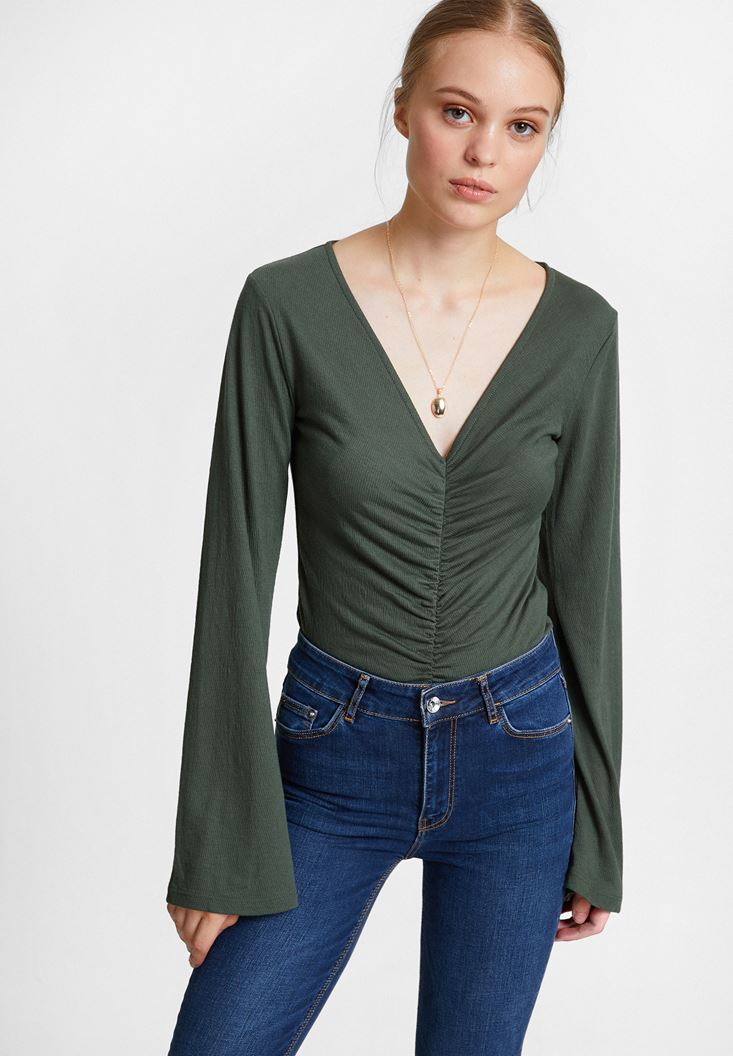 Green Smocked Blouse with Flared Sleeve