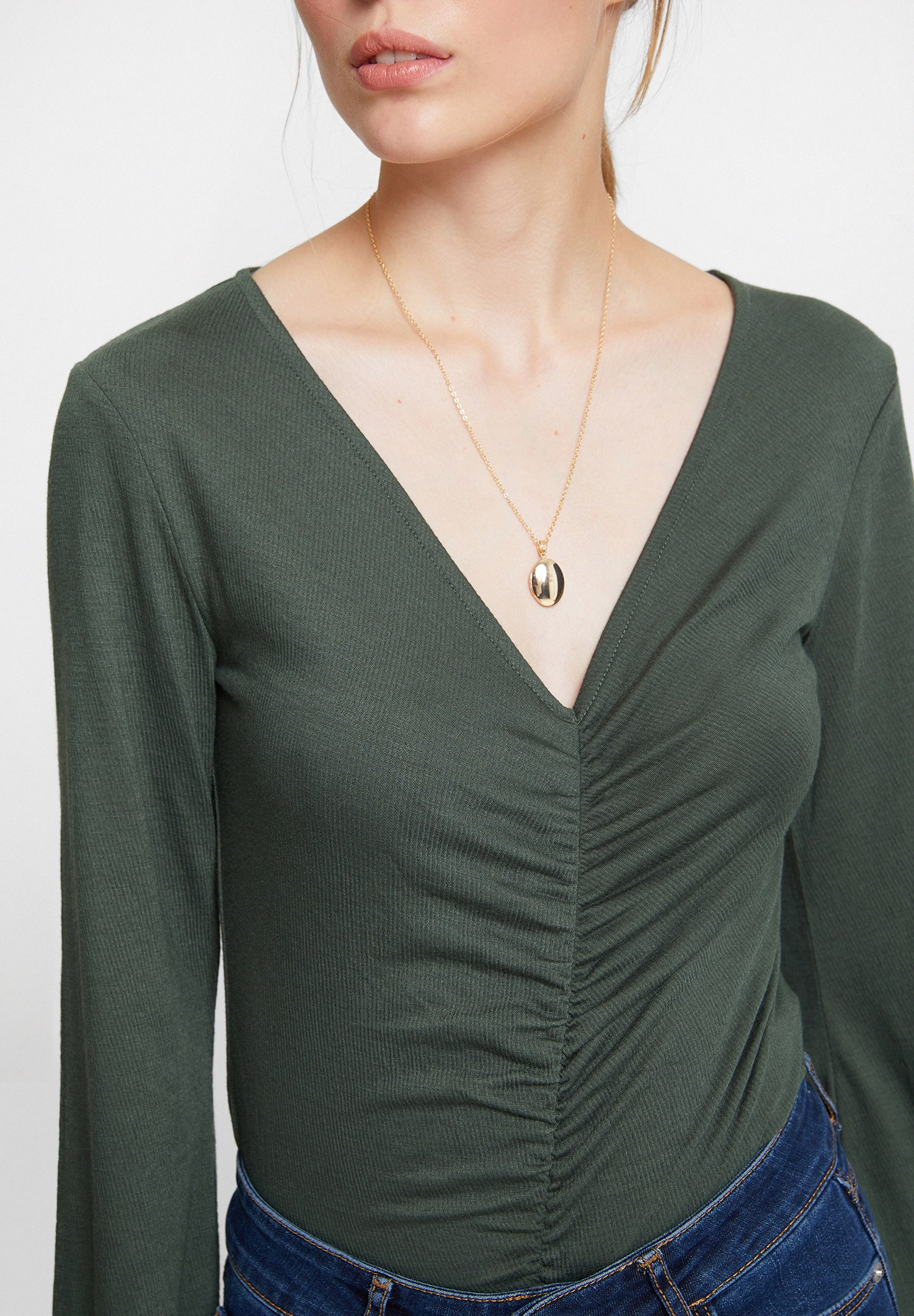 Women Green Smocked Blouse with Flared Sleeve