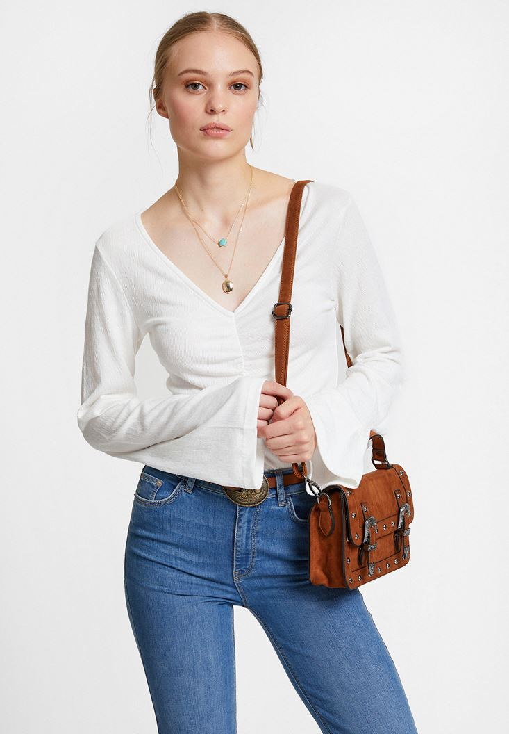 Cream Smocked Blouse with Flared Sleeve