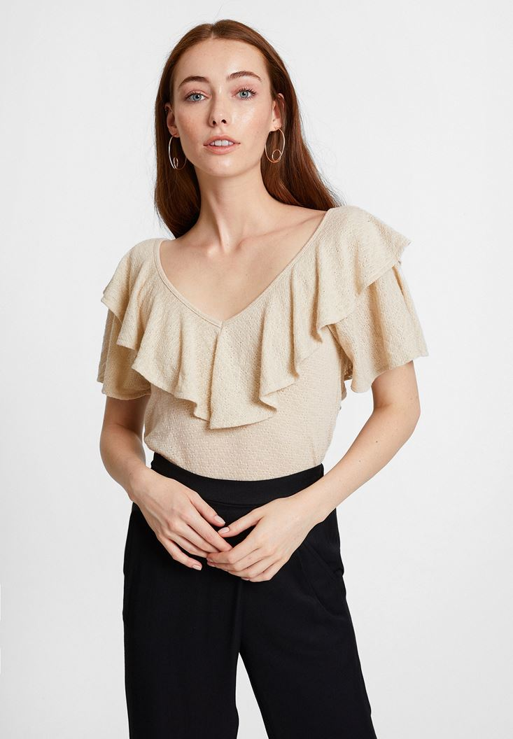 Cream V Neck Blouse with Ruffle