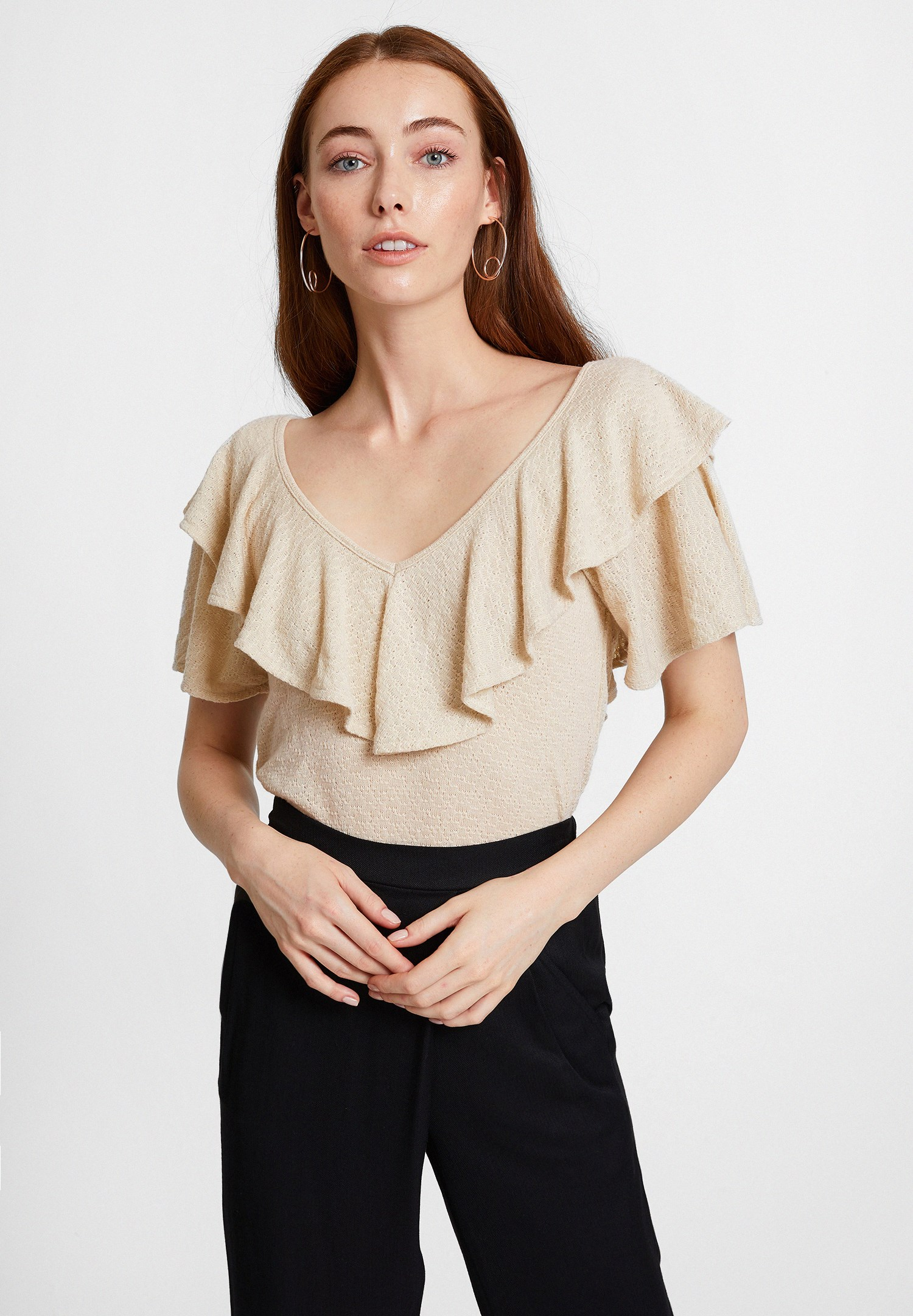 Women Cream V Neck Blouse with Ruffle