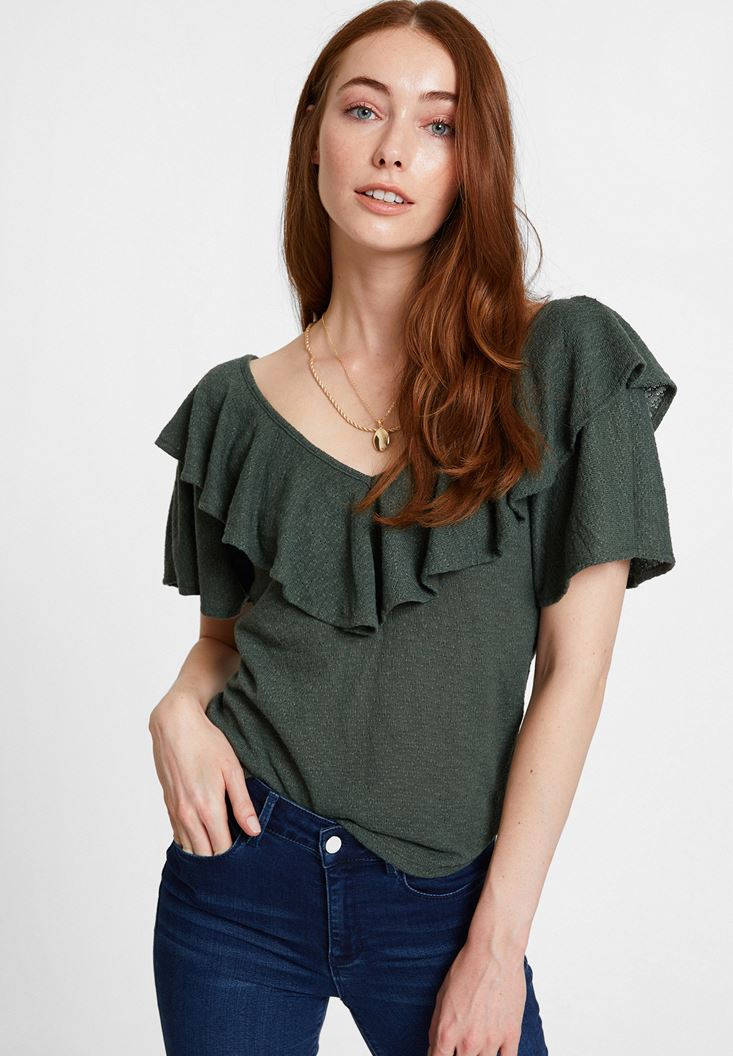 Green V Neck Blouse with Ruffle