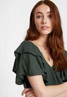 Bayan Yeşil V Yaka Fırfırlı Bluz