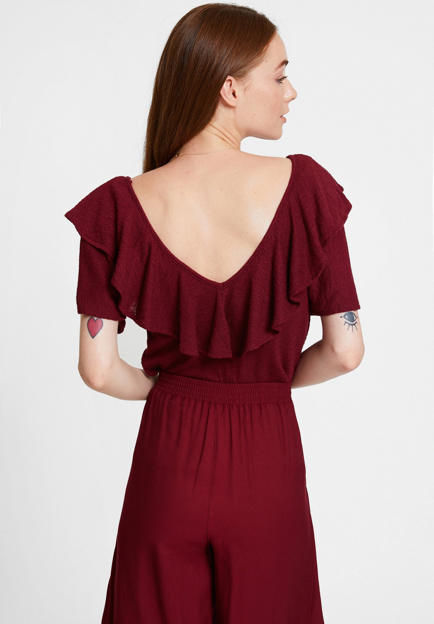 Bayan Bordo V Yaka Fırfırlı Bluz