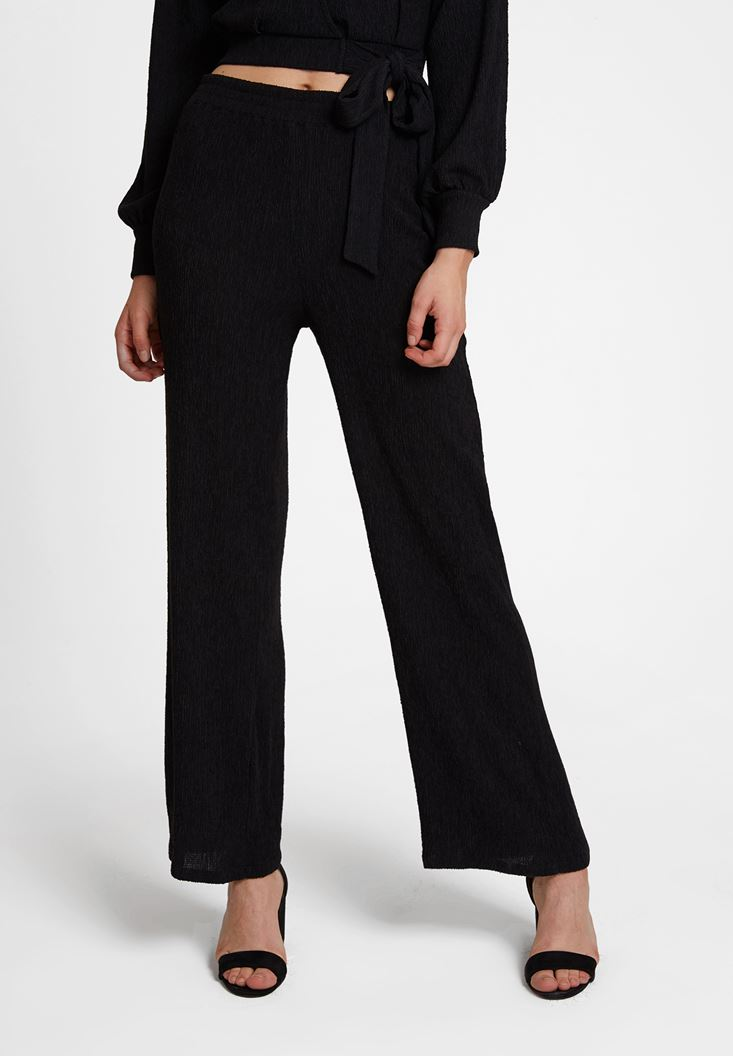 Black Wazy Pants with Texture