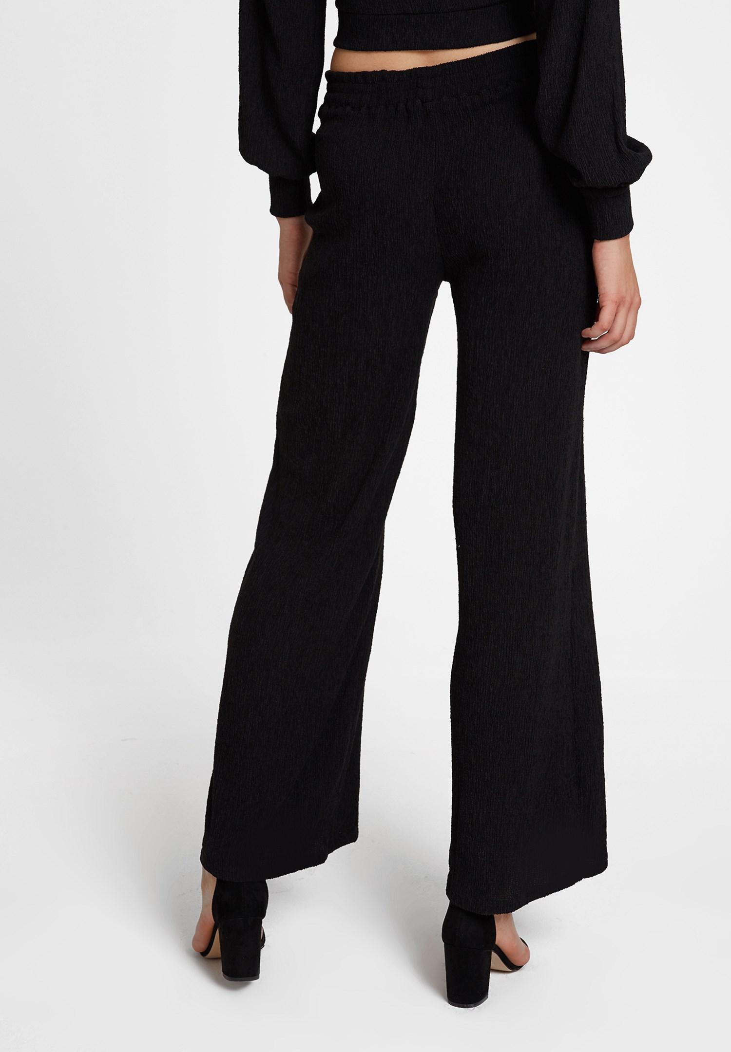Bayan Siyah Dokulu Bol Paça Pantolon