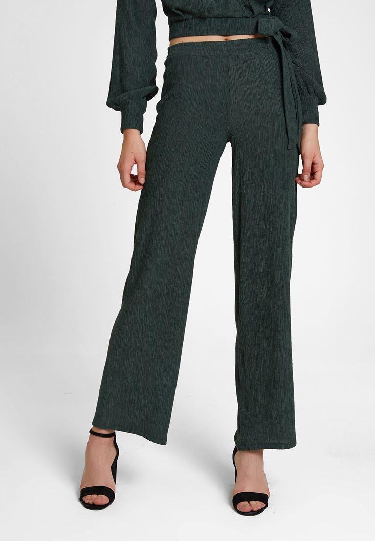 Yeşil Dokulu Bol Paça Pantolon