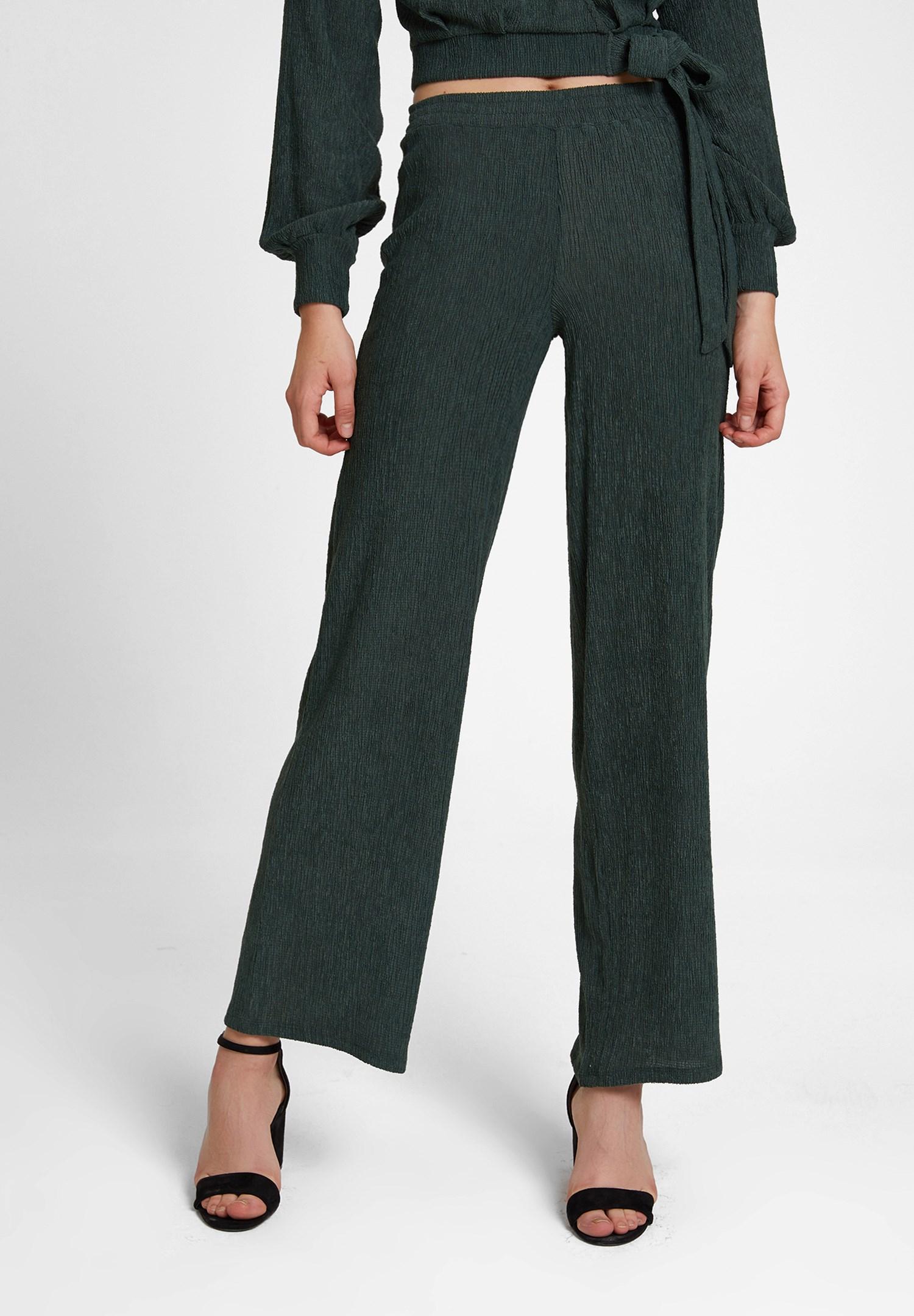 Bayan Yeşil Dokulu Bol Paça Pantolon