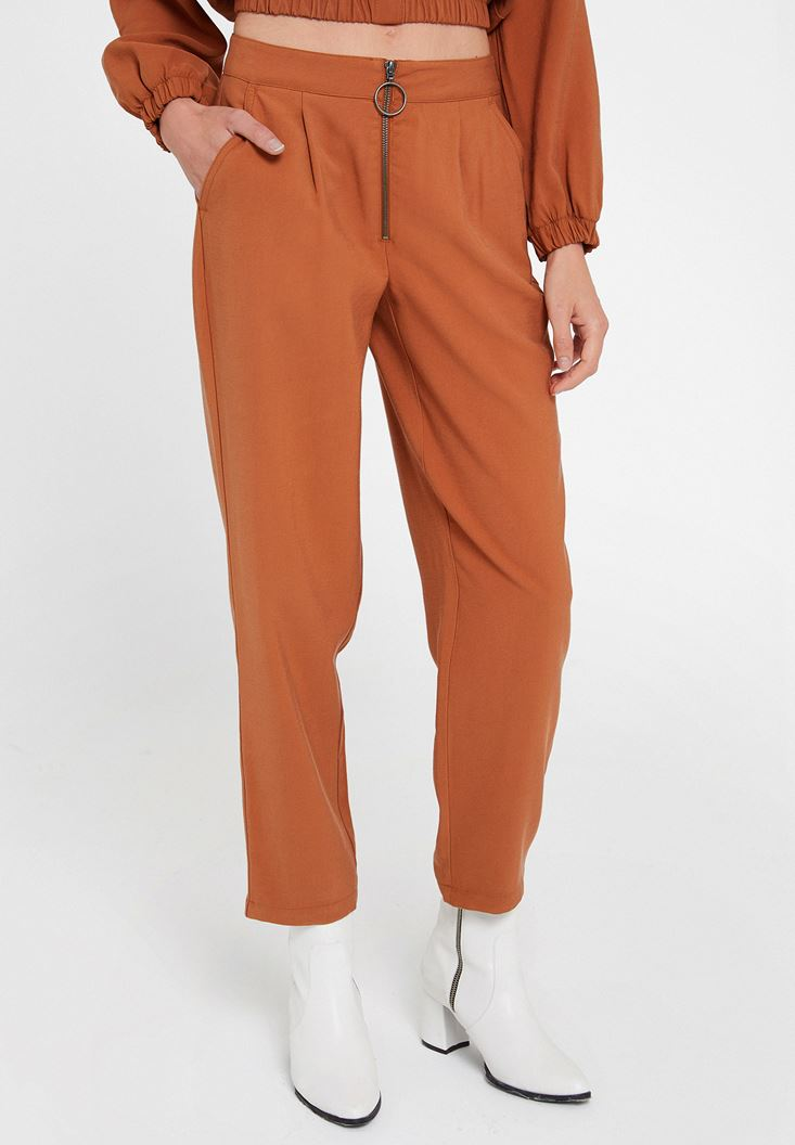 Brown Trousers with Zipper