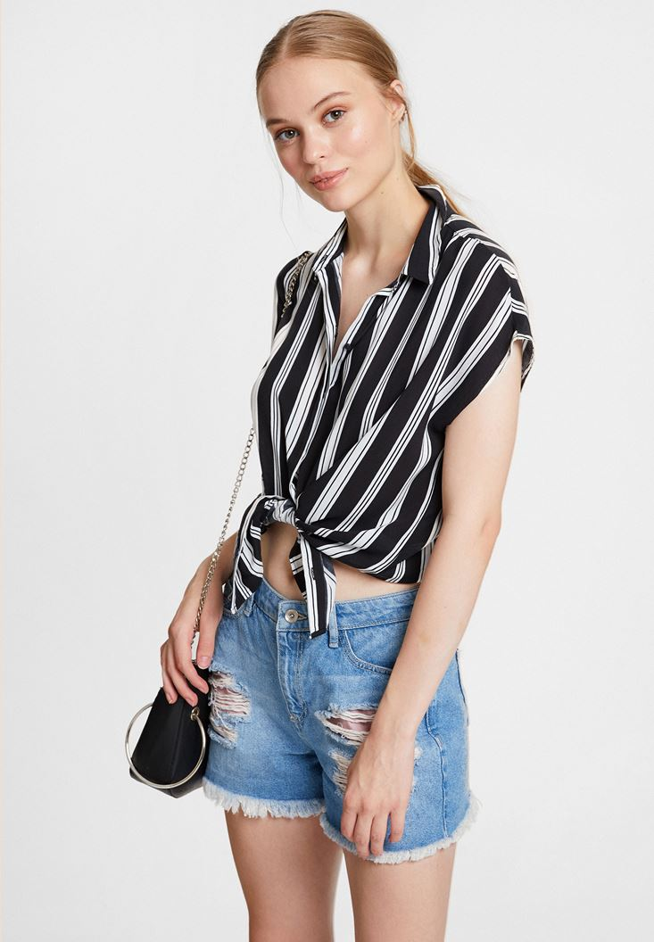 Black Shirt with Mix Pattern