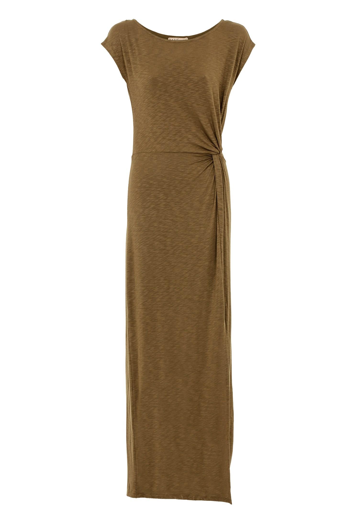 Bayan Yeşil Yırtmaç Detaylı Uzun Elbise