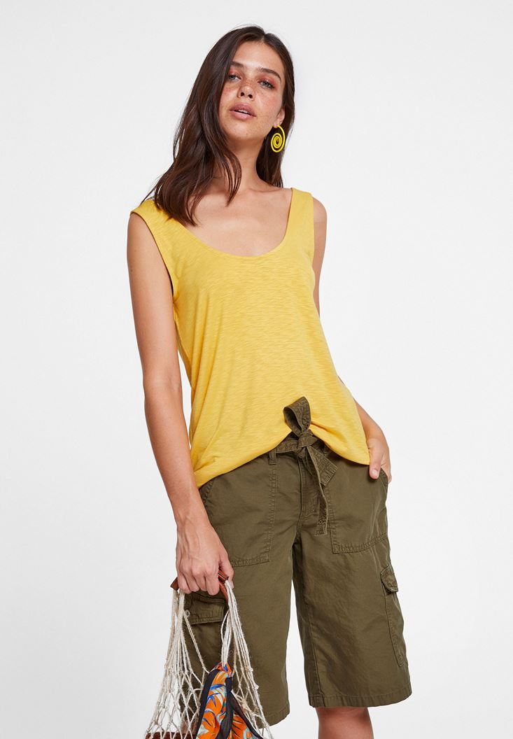 Yellow Asymmetric Blouse with Details