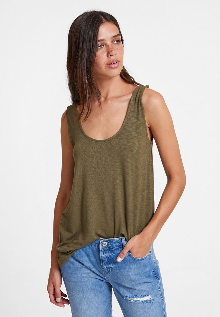 Green Asymmetric Blouse with Details