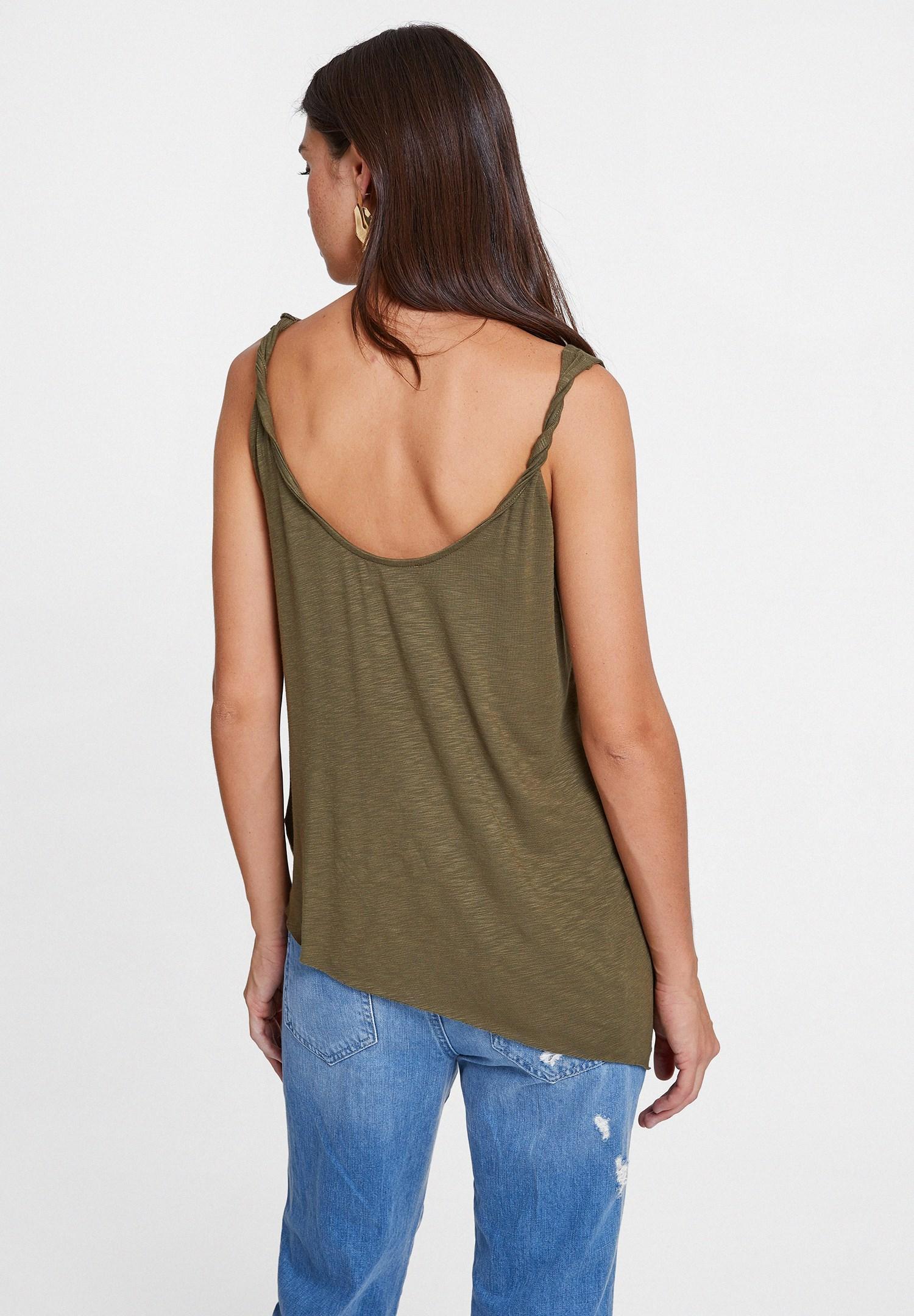 Women Green Asymmetric Blouse with Details