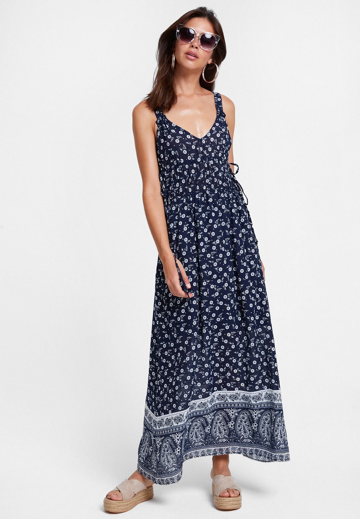 Bayan Çok Renkli Baskılı V Yaka Uzun Elbise