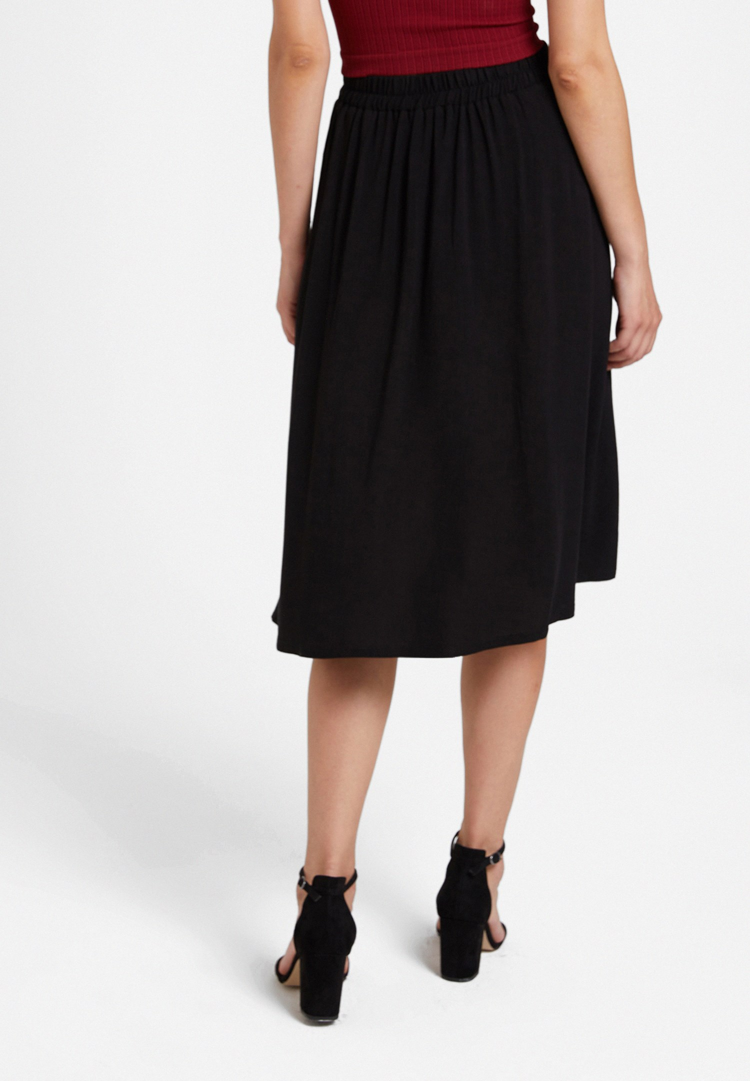 Women Black Midi Skirt with Buttons