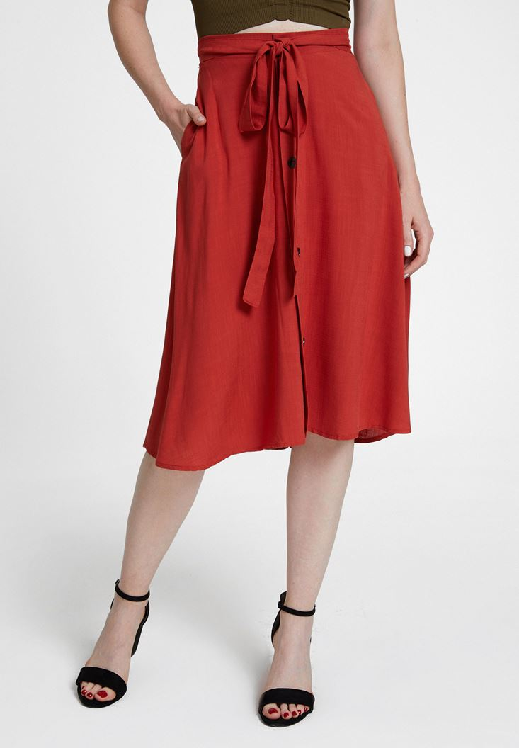 Red Midi Skirt with Buttons