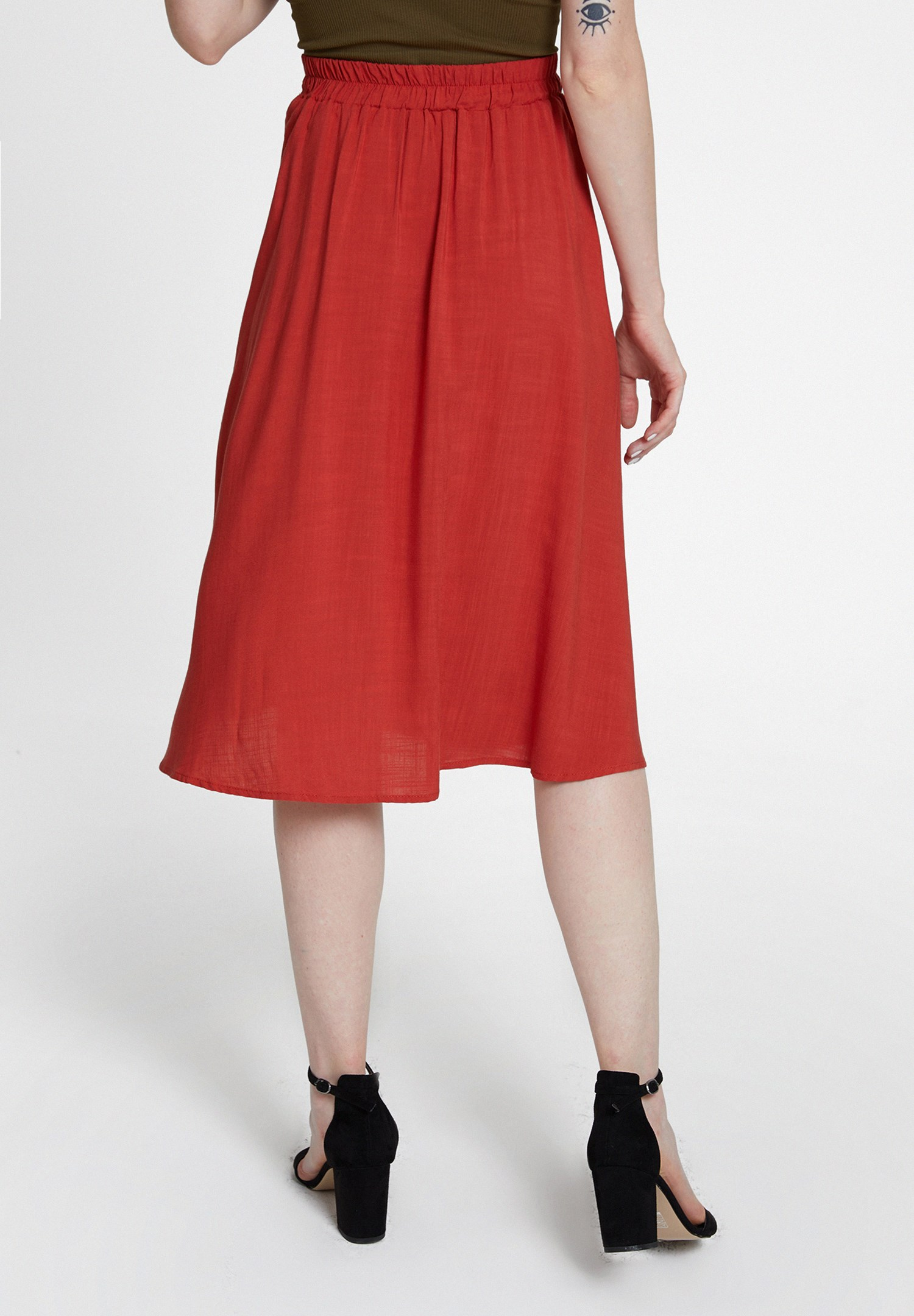 Women Red Midi Skirt with Buttons