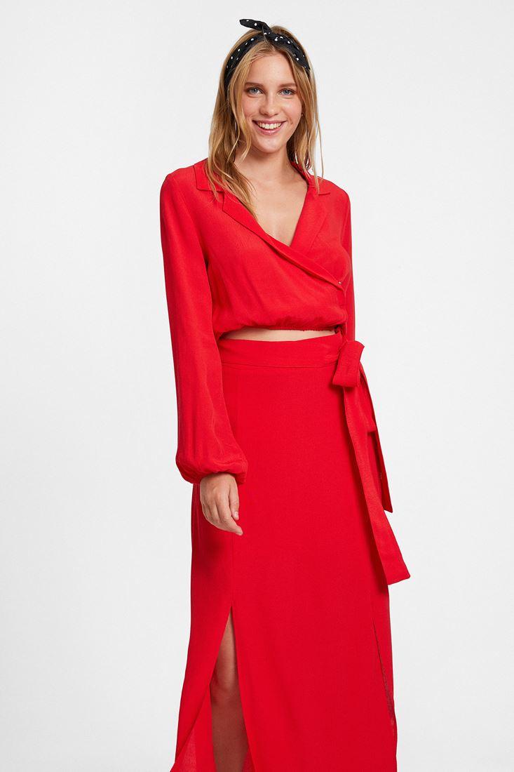 Kırmızı Uzun Kollu Kruvaze Bluz