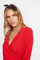 Bayan Kırmızı Uzun Kollu Kruvaze Bluz