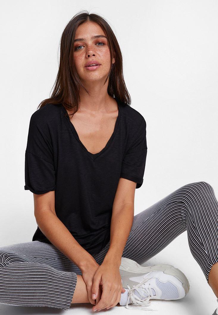 Black V Neck Oversize T-Shirt