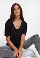 Bayan Siyah V Yaka Oversize Tişört