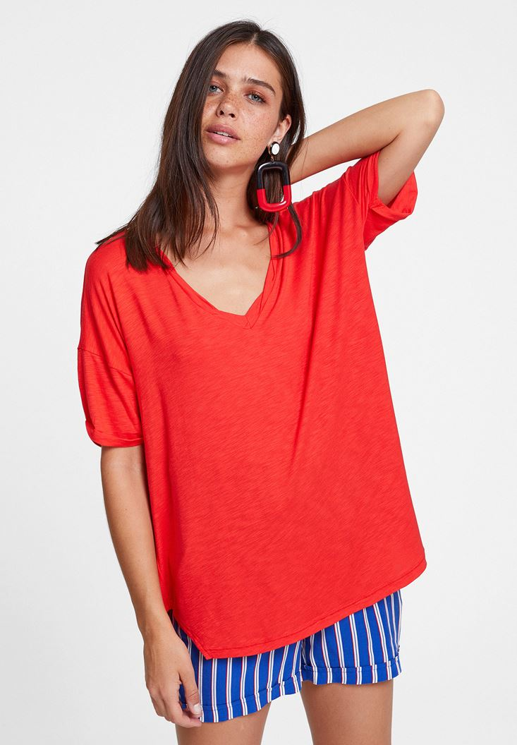 Red V Neck Oversize T-Shirt