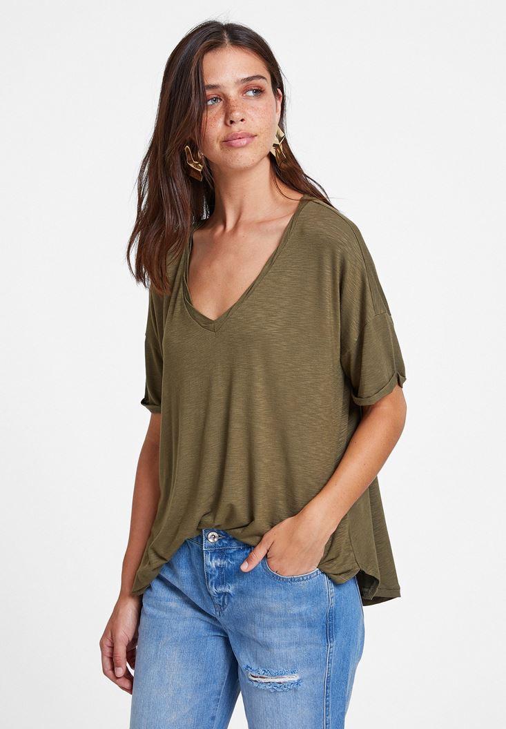 Yeşil V Yaka Oversize Tişört