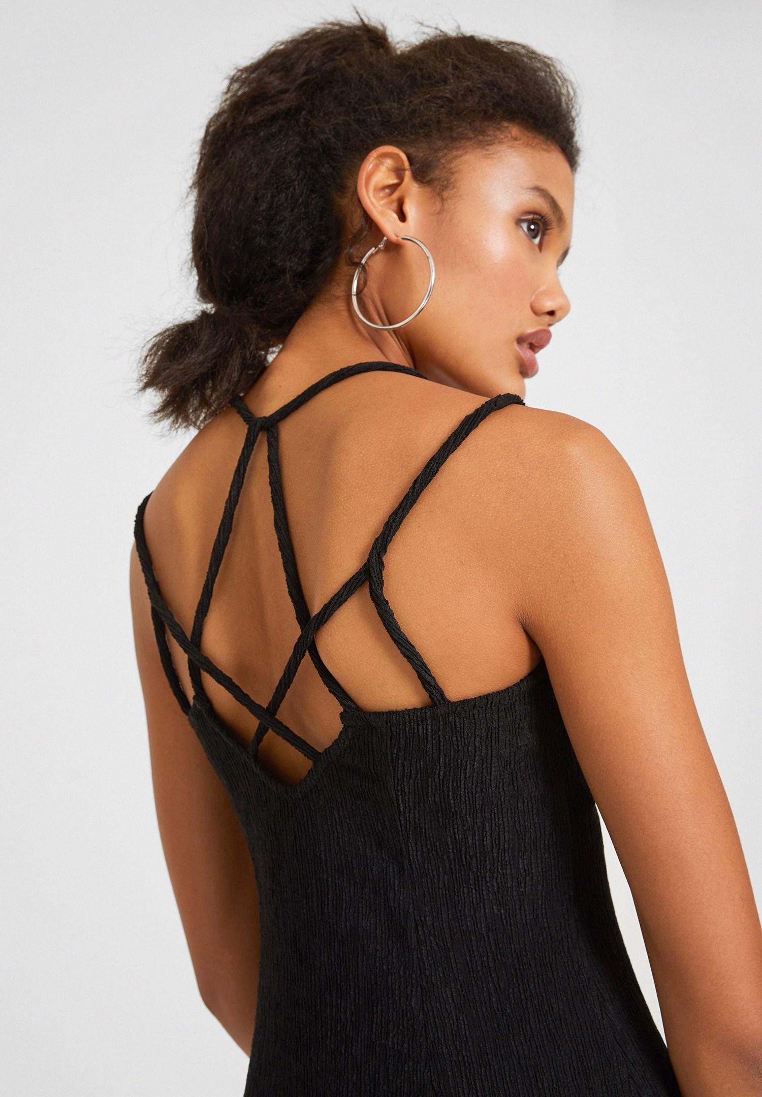 Bayan Siyah Sırt Detaylı Mini Elbise