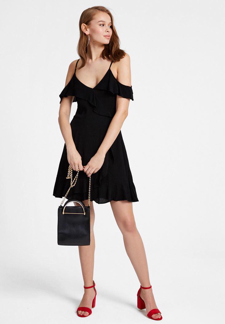 Bayan Siyah Kolları Fırfırlı V Yaka Elbise