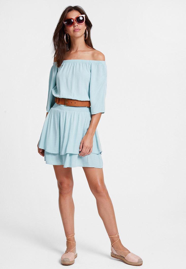 Mavi Düşük Omuzlu Dokulu Elbise