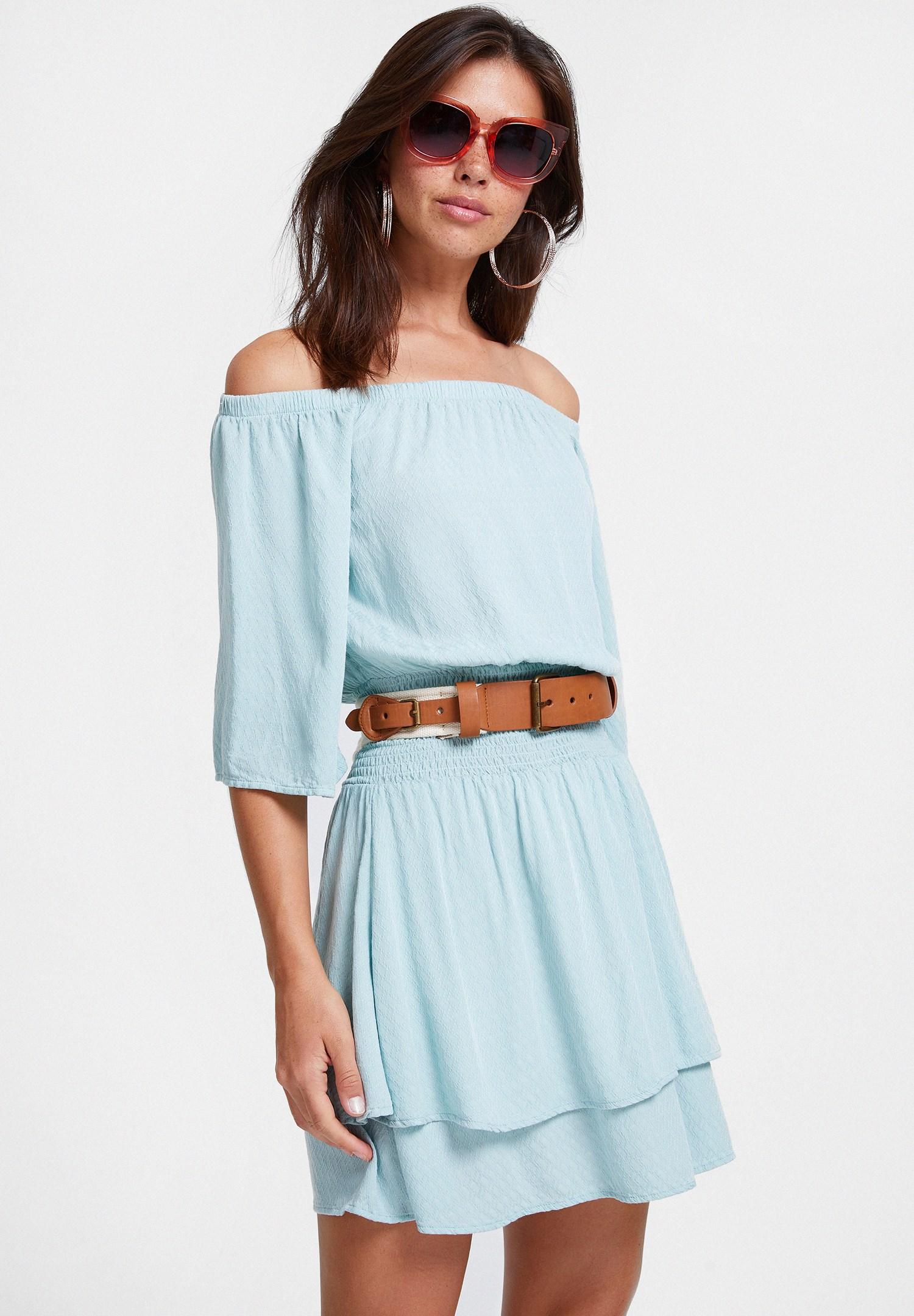 Bayan Mavi Düşük Omuzlu Dokulu Elbise
