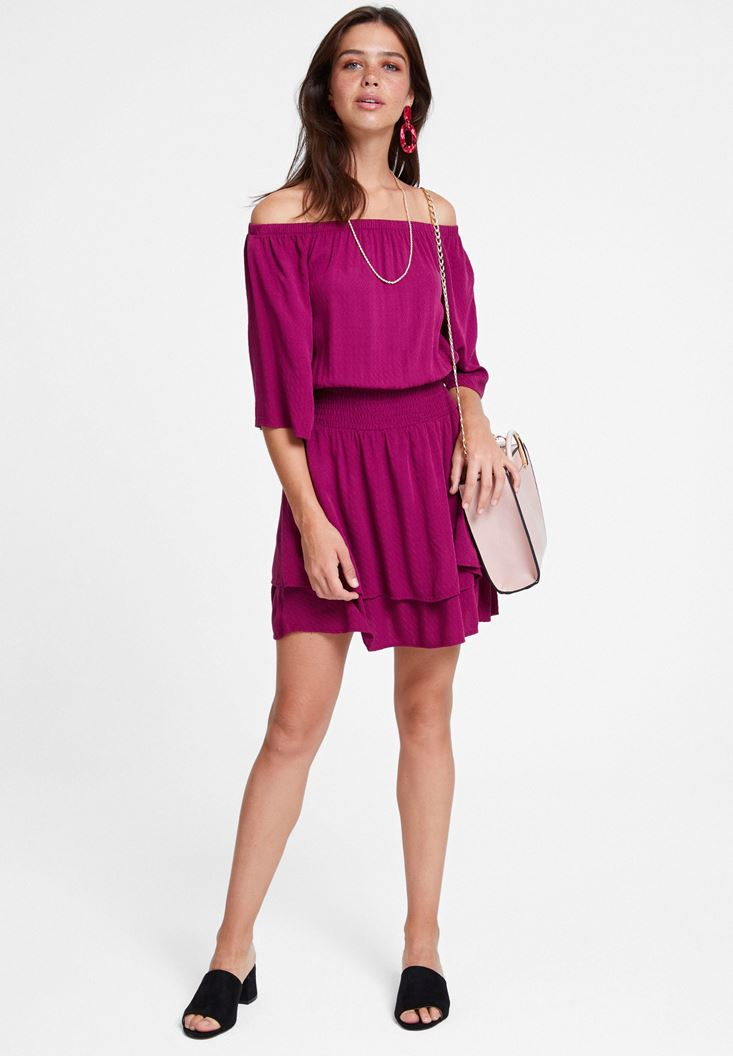 Bordeaux Off Shoulder Dress with Texture