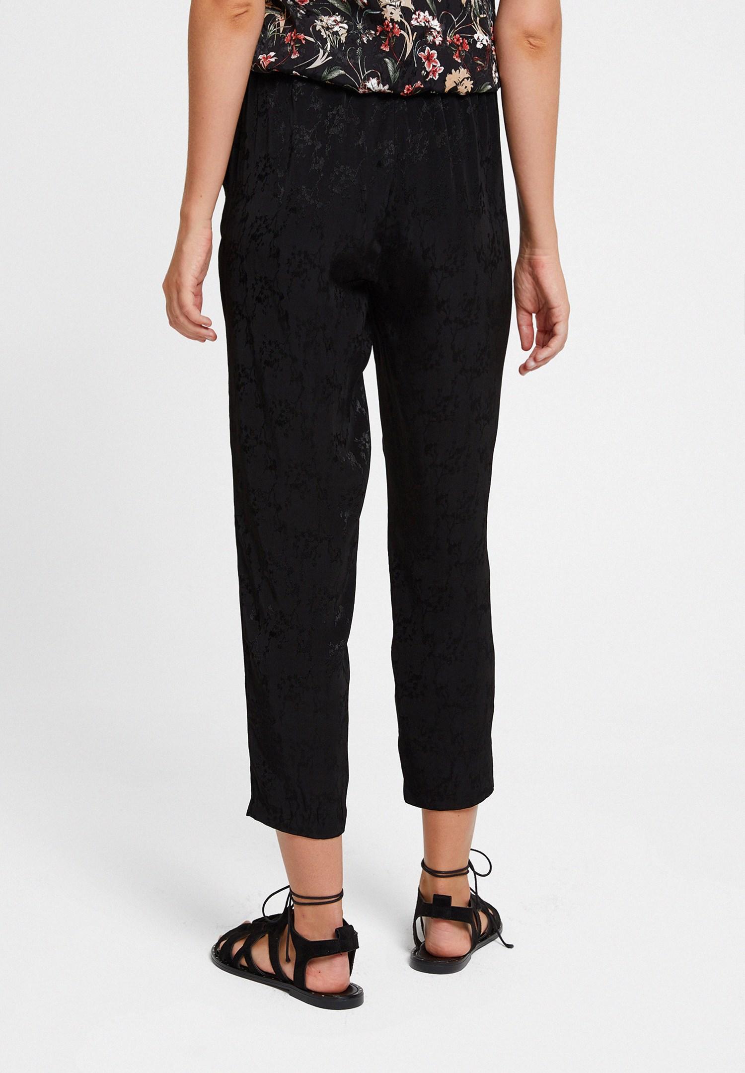 Women Black Jacquard Trousers