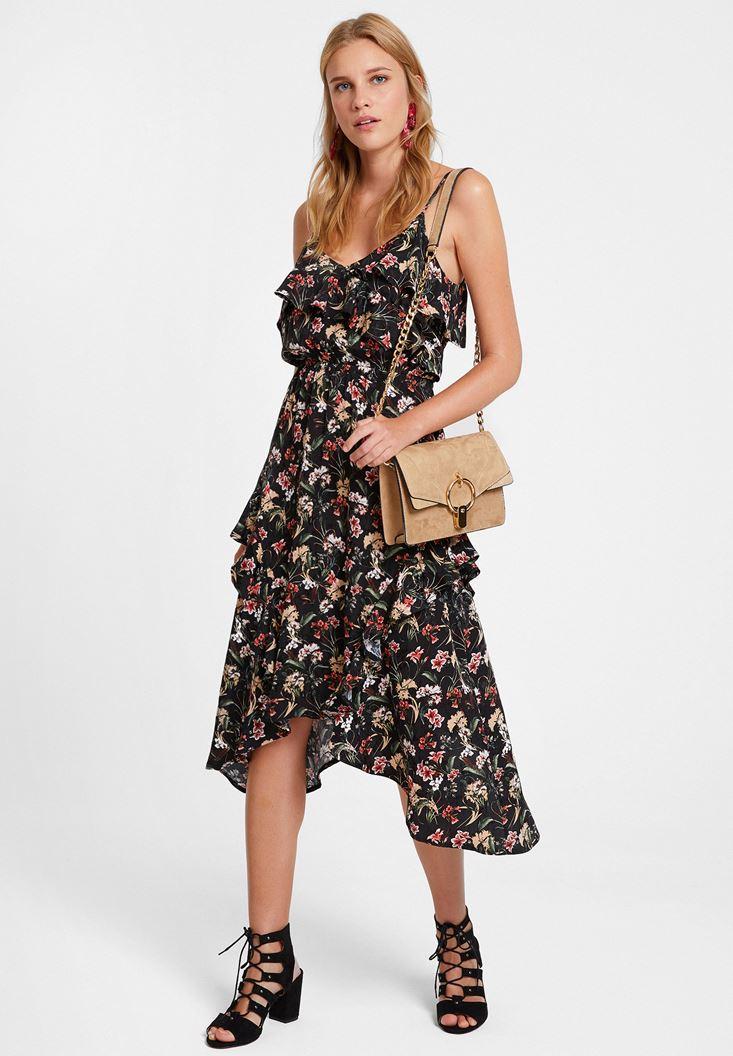Çok Renkli Floral Desenli Elbise